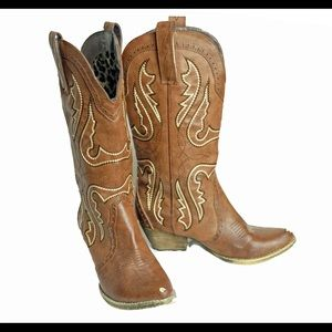 Women's Cowboy Boots Cowgirl Brown Leather 7.5